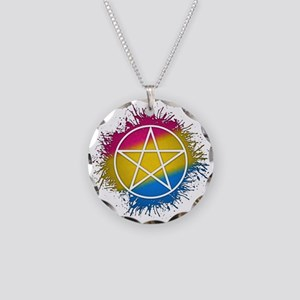 Pansexual Pride Pentacle Necklace Circle Charm