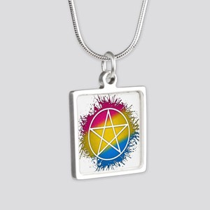 Pansexual Pride Pentacle Silver Square Necklace