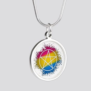 Pansexual Pride Pentacle Silver Round Necklace
