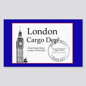 London Vintage Luggage Sticker (rectangle)