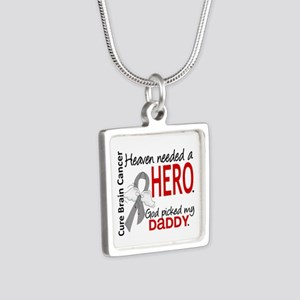 Brain Cancer Heaven Needed Silver Square Necklace