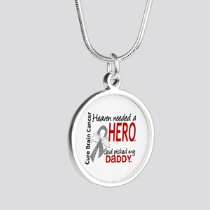 Brain Cancer Heaven Needed H Silver Round Necklace