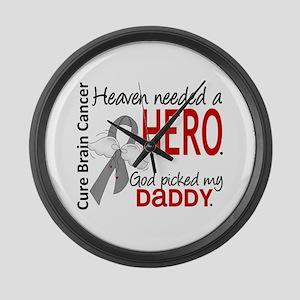 Brain Cancer Heaven Needed Hero 1 Large Wall Clock