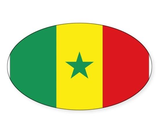 Flag senegal oval decal