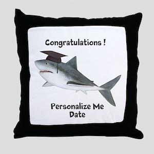 Graduation Shark Throw Pillow