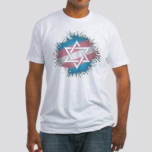 Transgender Pride Star of David Fitted T-Shirt