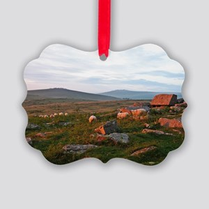 Sunset Rocks and Sheep Ornament