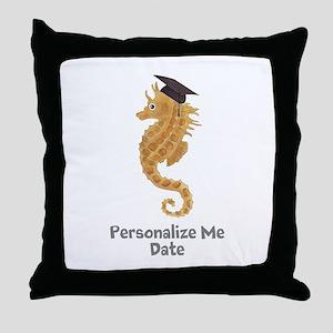 Graduation Seahorse Throw Pillow