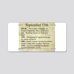 September 13th Aluminum License Plate