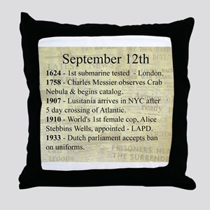 September 12th Throw Pillow