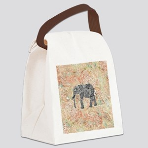 Tribal Paisley Elephant Colorful  Canvas Lunch Bag