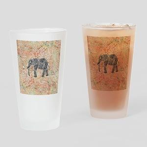 Tribal Paisley Elephant Colorful He Drinking Glass
