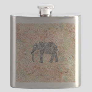 Tribal Paisley Elephant Colorful Henna Patte Flask