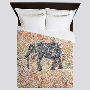 Tribal Paisley Elephant Colorful Henna Queen Duvet