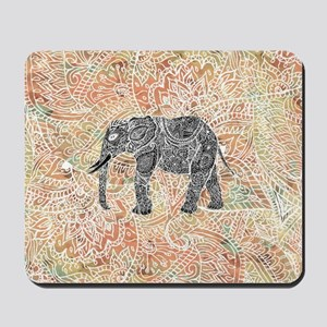 Tribal Paisley Elephant Colorful Henna P Mousepad