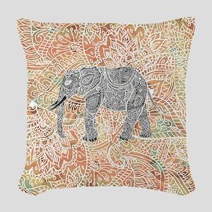 Tribal Paisley Elephant Colorf Woven Throw Pillow