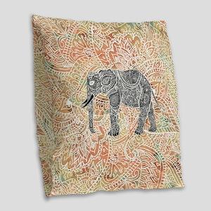 Tribal Paisley Elephant Colorf Burlap Throw Pillow