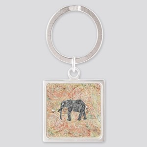 Tribal Paisley Elephant Colorful H Square Keychain