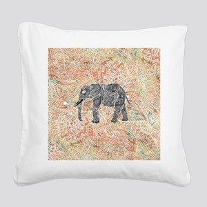 Tribal Paisley Elephant Color Square Canvas Pillow