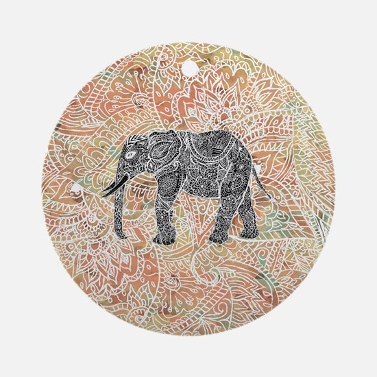 Tribal Paisley Elephant Colorful He Round Ornament