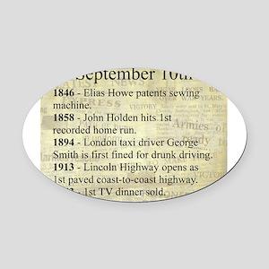 September 10th Oval Car Magnet