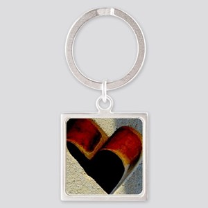 Open Heart Square Keychain