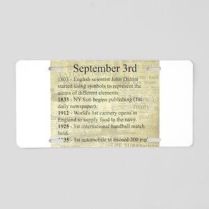 September 3rd Aluminum License Plate
