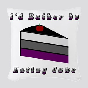 Asexual I'd Rather be Eating C Woven Throw Pillow