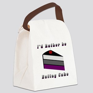 Asexual I'd Rather be Eating Cake Canvas Lunch Bag