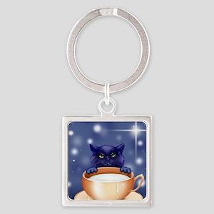 Blue Fantasy Cat Square Keychain