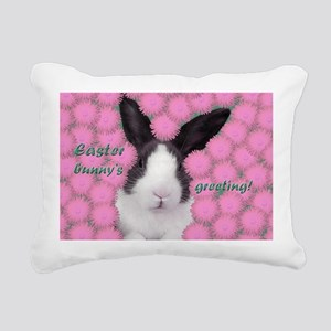 Easter bunny in pink Rectangular Canvas Pillow