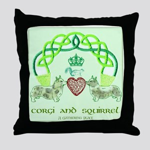 Corgi & Squirrel Claddagh Throw Pillow