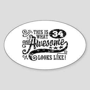 34th Birthday Sticker (Oval)