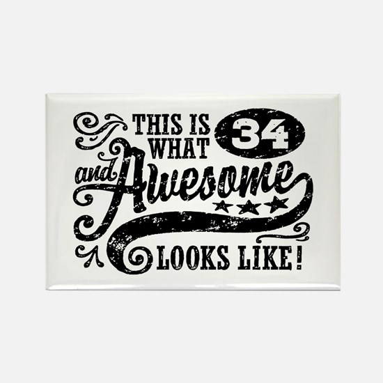 34th Birthday Rectangle Magnet