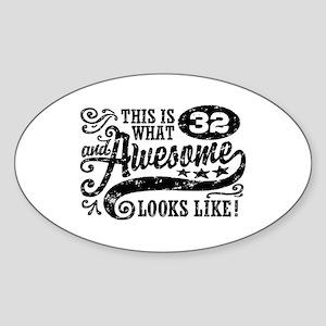 32nd Birthday Sticker (Oval)