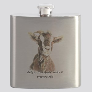 Over the Hill Old Goat Humor Quote Flask