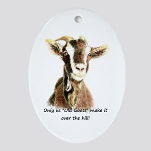 Over The Hill Old Goat Humor Quote Ornament (oval)
