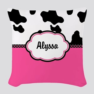 Cow Print Pink Woven Throw Pillow