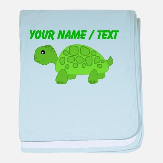 Custom Green Turtle baby blanket