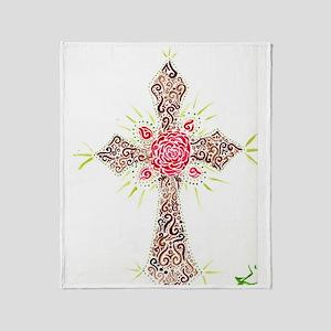 Tribal Rose Cross Throw Blanket