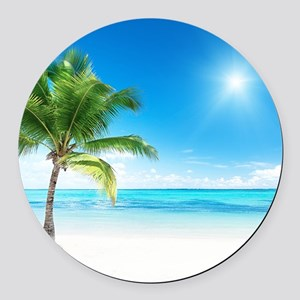 Beautiful Beach Round Car Magnet