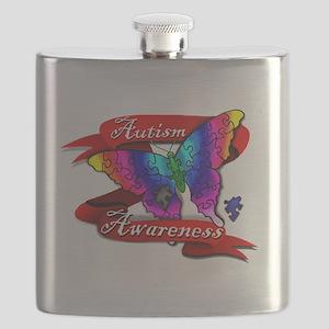 Autism Awareness Butterfly Design Flask