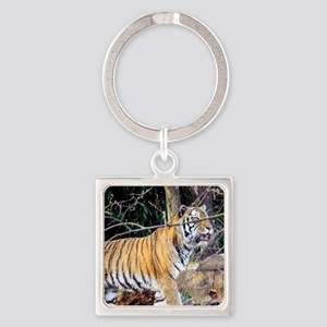 Tiger in the woods Square Keychain