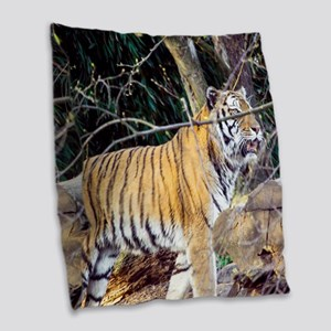 Tiger in the woods Burlap Throw Pillow