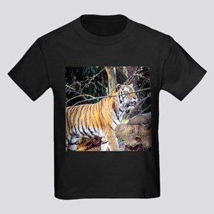 Tiger in the woods Kids Dark T-Shirt