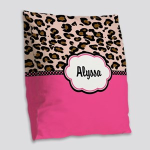 Leopard Print Pink Personalized Burlap Throw Pillo