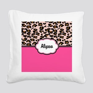 Leopard Print Pink Personalized Square Canvas Pill