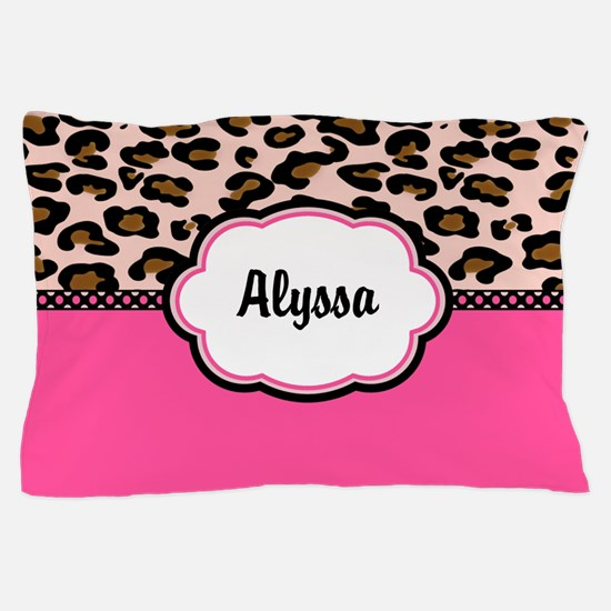 Leopard Print Pink Personalized Pillow Case