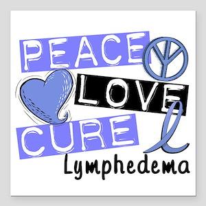"""Lymphedema Peace Love Cu Square Car Magnet 3"""" x 3"""""""