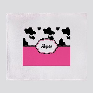 Cow Print Pink Personalized Throw Blanket